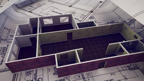 House is building on blueprints. 3d rendering of House is building on blueprints Stock Photos
