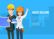 House building concept with architects. In business suits and safety helmets with blueprints. Professional engineering and construction, industrial building Stock Images