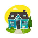 House building concept, cottage exterior, cartoon vector illustration. Front view, facade, home for rent or sale vector illustration