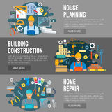 House building, construction repair flat banners Stock Photo