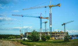 House building constructions in Vilnius. House building constructions in Pilaite Vilnius, Lithuania Royalty Free Stock Photo