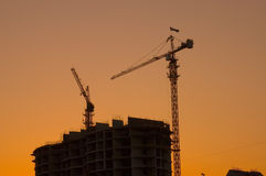 House building crane silhouettes Royalty Free Stock Photo