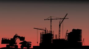 House building, cranes and truck Royalty Free Stock Image
