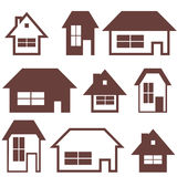 House Building Icon Set. Home Silhouettes Stock Images