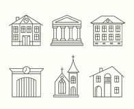 House building icons set in line style Royalty Free Stock Photography
