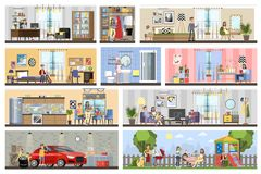 House building interior plan with the garage. Home with kitchen and bathroom, bedroom and living room. Barbeque on the backyard. Vector flat illustration stock illustration