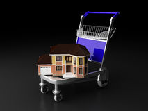 House and building mover. House and cart , house and building mover business concept Stock Photos