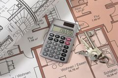 House Building Plan Royalty Free Stock Photography