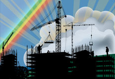 House building and rainbow Royalty Free Stock Photography