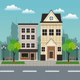 House building residential urban streetscape royalty free illustration