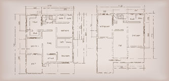 House building structure sketch plan drawing vintage background Royalty Free Stock Photography