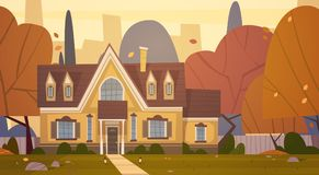 House Building Suburb Of Big City In Autumn, Cottage Real Estate Cute Town Concept. Flat Vector Illustration Stock Photography