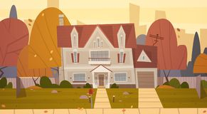 House Building Suburb Of Big City In Autumn, Cottage Real Estate Cute Town Concept. Flat Vector Illustration Stock Photo