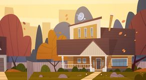 House Building Suburb Of Big City In Autumn, Cottage Real Estate Cute Town Concept. Flat Vector Illustration Royalty Free Stock Photos