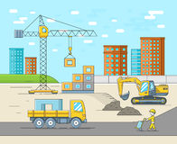 House building in thin line flat style. Construction site vector illustration Stock Photography