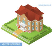 House and building. Vector isometric flat illustration with house, gate and yard. Eps 10 stock illustration