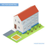 House and building. Vector isometric flat illustration with house and yard. Eps 10 royalty free illustration