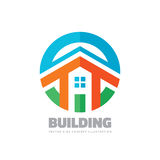 House building - vector logo concept illustration in flat style for presentation, booklet, website and other creative projects. Real estate. Design element Royalty Free Stock Image