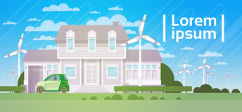 House Building With Wind Turbine Eco Real Estate Energy Efficient Royalty Free Stock Photography