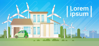 House Building With Wind Turbine Eco Real Estate Energy Efficient. Flat Vector Illustration vector illustration
