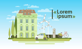 House Building With Wind Turbine And Electric Car Eco Real Estate Energy Efficient. Flat Vector Illustration Stock Photos