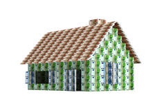 House built with Euro banknotes. 3D rendering of a House built with Euro banknotes - isolated on white Stock Illustration