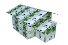 House built from euro notes, 3D. Royalty Free Stock Photography