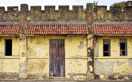 House built on Fortification Ruins Royalty Free Stock Images