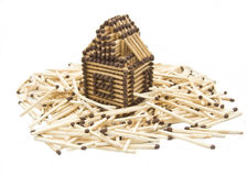 House built from matches Stock Images
