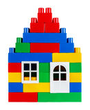 House built of multi colored toy blocks Royalty Free Stock Images