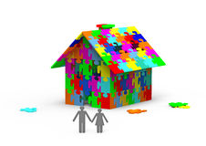 House from puzzles. House built out of colorful puzzle pieces, 3d render Stock Image