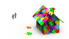 Jigsaw puzzle house stock illustration