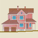 The house is built of red brick and decoration details with white stone. Classical style of the architecture of the apartment house royalty free illustration