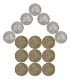 House built of coins royalty free stock photography