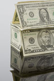 House built of US Dollar bills, close up Stock Photo
