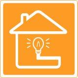House and bulb silhouette Stock Photos