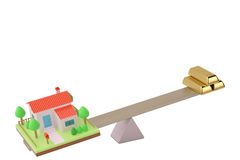 House and bullion on the seesaw,3D illustration. House and bullion on the seesaw 3D illustration Stock Photo