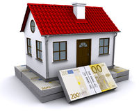 House on a bundle of euro Royalty Free Stock Image