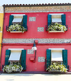 House of the burano island. Colorful houses on the island burano italy Royalty Free Stock Photo