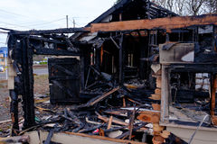 House Burned in Major Fire Stock Photos