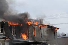 House burning, Montezuma, Iowa, tacksägelse Royaltyfri Fotografi