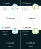 House business card 2. 3d houses business cards, blue and green colors Stock Photos