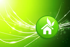 House Button on Green Abstract Light Background Royalty Free Stock Image