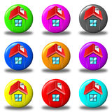 House button set round royalty free stock images