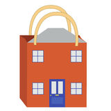 House buying. An illustration of a shopping bag in the shape of a house to promote house buying or estate agents Royalty Free Stock Photography