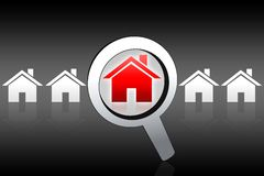 House buying searching concept. Black white red illustration Stock Photography