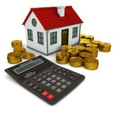 House, calculator, stacks gold coins. House with red roof, calculator, stack of gold coins dollar. 3d rendering Stock Photos