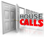 House Calls Doctor Professional Visit Home Appointment. House Calls 3d words coming out an open door to illustrate an appointment from a visiting doctor or other stock illustration