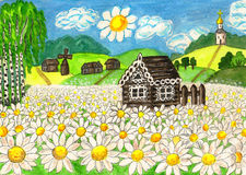 House with camomiles, painting. Hand painted picture, watercolours and acryl, series Houses of the world, House with camomiles (House in Russia Royalty Free Stock Photo