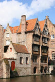 House on canal. In Brugge stock photography
